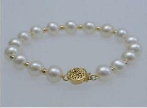 """Natural 9-10mm South Sea Genuine White Pearl Bracelet 14k Gold Clasp 7.5-8"""""""