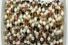 3 Feet Multi Tourmaline Rondelle 4-4.5mm, Pearl Barrel 4x6mm Beads, Rosary Chain
