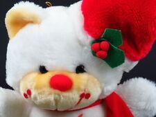 "Vintage Christmas Teddy Bear Plush Santa 12"" Stuffed Animal Holiday Toy White"