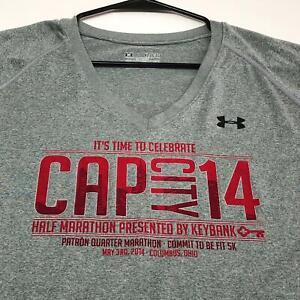 Under Armour Cap City Half Marathon 2014 Adult T Shirt XL Gray Short Sleeves