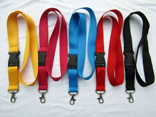 5 x Multi Colour Lanyard with Plastic Buckle and Metal Trigger Clip Set New UK
