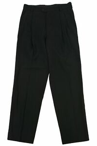 Versace Men's Relaxed Fit Tapered Pleated Slacks Trouser Pants Size 48 Black