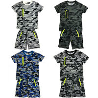 Boys Kids T-Shirt Short Set Camo Army Camouflage Summer