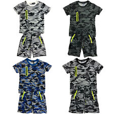 Boys Kids T-Shirt Short Set Camo Army Camouflage Summer Shorts
