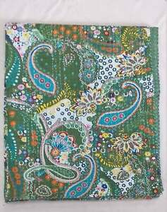 Indian Handmade Paisley Print Cotton Kantha Quilt Throw Bedspread Blanket Double