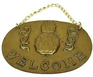 Vintage Brass Oval Pineapple Welcome Sign With Hanging Chain 3.5 x 4.75 inch
