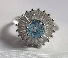 Ring Size 9 Blue Topaz Cubic Zirconia CZ with Baguette Accents HUGE NWT T38
