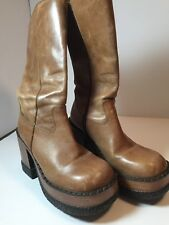 Retro London Underground light brown Leather Mid- High Platform Boots Wms Size 7