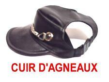 CASQUETTE CUIR NOIR  AVEC  CHAINE POUR CHIEN    TAILLE 3 / OU 4