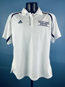 Woman's Adidas Climacool Notre Dame Soccer White Polyester SS Athletic Polo XL