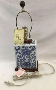RALPH LAUREN HOME TABLE LAMP DESK PORCELAIN LOTUS FLOWER MANDARIN BLUE WOOD NEW