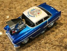 55 CHEVY VOTE AMERICA BLUE W WHITE TOP. 2004 MUSCLE MACHINES 1:18 SCALE