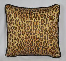Pillow made w Ralph Lauren Venetian Leopard Animal Print Fabric w trim cording