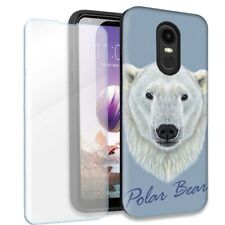Polar Bear Double Layer Case w/Tempered Glass Protector For LG Stylo 4