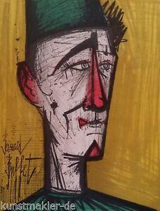 BUFFET Bernard (1928-1999) Original Lithographie 1967 : Der Clown Jojo