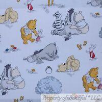 BonEful FABRIC FQ Cotton Quilt White Scenic Yellow Winnie the Pooh Disney Baby S