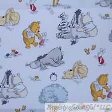 BonEful FABRIC FQ Cotton Quilt White Scenic Yellow Winnie the Pooh Disney Baby S
