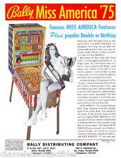 MISS AMERICA 75  By BALLY 1975 NOS ORIGINAL BINGO PINBALL MACHINE FLYER BROCHURE