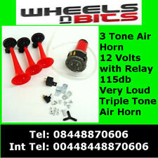 12v Triple Tone 3  Air Horn Kit Horns Musical For Car Boat Van SUV Super LOUD