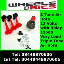 12v Triple Tone 3  Air Horn Kit Horns Musical For Car Boat Van SUV Super LOUD