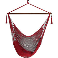 Sunnydaze Soft Polyester Extra-Large Hanging Rope Caribbean Hammock Chair - Red