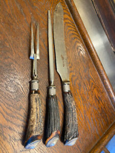 Antique English 19th Century Horn Silver Handled Forged Steel Carving Set