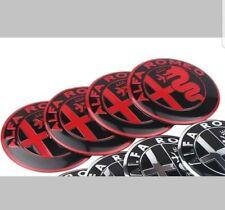 Alfa Romeo 50mm x4 BLACK & RED wheel cap badge hub stickers
