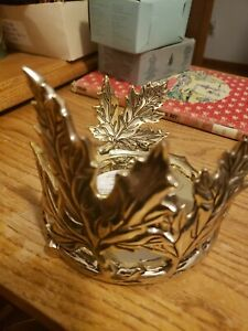 Bath & Body Works GOLD LEAVES 3 Wick Candle Sleeve Holder Ceramic