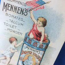 1880s Patriotic MENNEN's TALCum Powder Chemical Victorian Advertising Trade Card