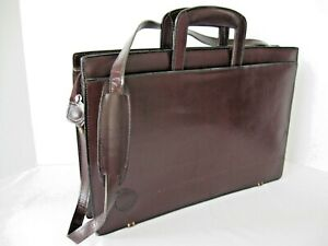 Leather Briefcase Hide-able Drop Handle NEW