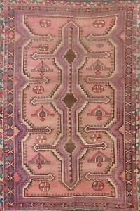 Antique Vegetable Dye Abadeh Area Rug Evenly Low Pile Hand-knotted Tribal 5x7 ft