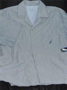 Nautica 100% Cotton Spring Bay Navy Ss Nightshirt Pajama Top Striped Blue Size L