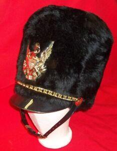 Bayly Marching Band Small Black Imitation Fur Busby Helmet w/ War Eagle & Chain