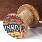 Farmhouse Primitive Advertising Wood Spool with Twine 2.75x3.25
