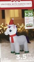Airblown Inflatable 3.5 Ft Tall Unicorn With Santa Hat Christmas Gemmy