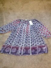 Brand New Next Maternity Blouse Size 8 Sheer Purple Cream Burgundy Tag £34