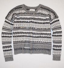 New Abercrombie & Fitch Women's Embellished Cropped Lightweight Sweater Size M/L