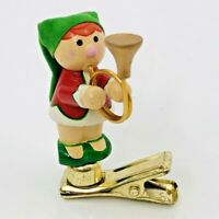 Vintage Elf Clip On Wood Ornament Music Horn R Dakin 1985