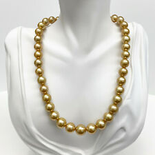 Golden South Sea Pearl Necklace Loose Strand Round 9mm-11mm