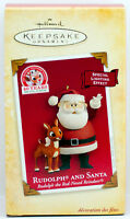 2004 RUDOLPH THE RED NOSED REINDEER AND SANTA NEW Hallmark Ornament LIGHT 40