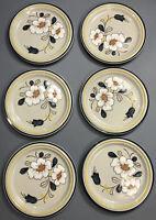 "Set of 6 Vintage Acsons Stoneware Floral Dinner Plates Blue Yellow White 10.5"""