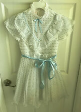 Vintage 1970's Merry Girl Girls 12 Blue White Polka Dot Party Dress Lace Ruffled