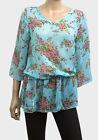 New Floral Print Light Blue Chiffon Kaftan Tunic Top Size M and L FREEPOST