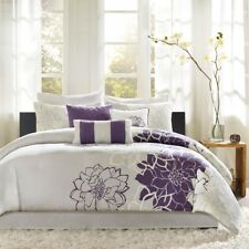 Queen Size Lola Comforter Set Cotton Purple Transitional Madison Park Mp10-257