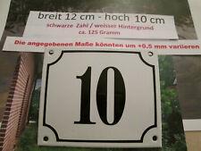 Hausnummer Emaille Nr. 10 schwarze Zahl auf weißem Hintergrund 12 cm x 10 cm
