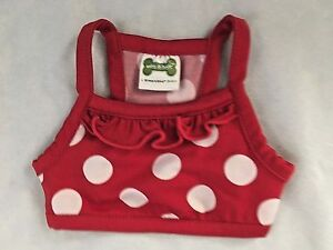 """Red Dotted 5.5X6"""" (Laying Flat) Stretch Pet Shirt"""