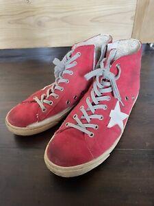 Golden Goose Deluxe Brand Francy Sneakers Red Suede Eu40 Uk7 High Tops