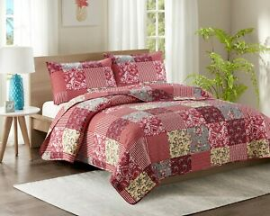 Single Size Quilt 2 Piece Quilted Bedspread Throw Comforter Set & 1 Pillow Sham
