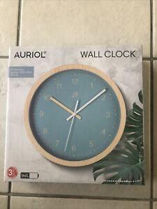 Auriol Modern Walk Clock 25.5x4cm Blue - Sturdy Wood Effect Housing