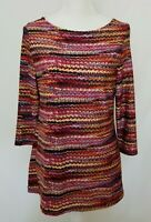 Peck & Peck Womens Medium Rainbow Multi-color 3/4 Sleeve Blouse Top EUC